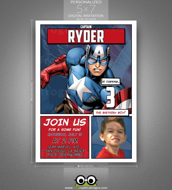 Captain America Invitation Template Beautiful Captain America Birthday Invitation Ic by Frographicdesigns