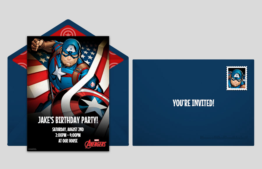 Captain America Invitation Template Beautiful Free Avengers Line Invitations Punchbowl