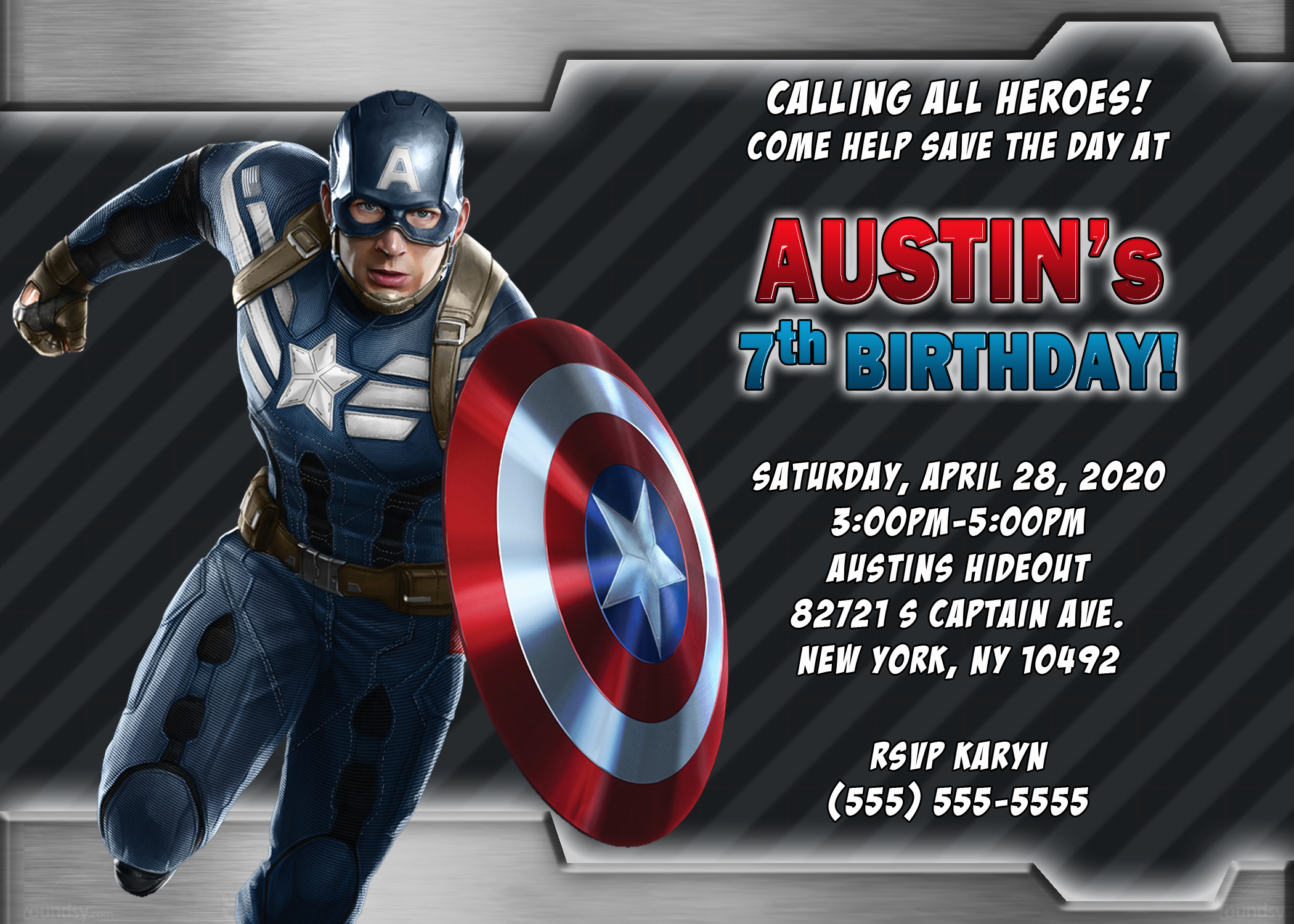 Captain America Invitation Template Best Of Captain America Birthday Invitations
