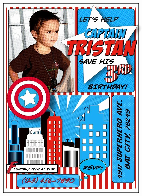 Captain America Invitation Template Best Of Captain America Inspired Birthday Party Invitation Ideas