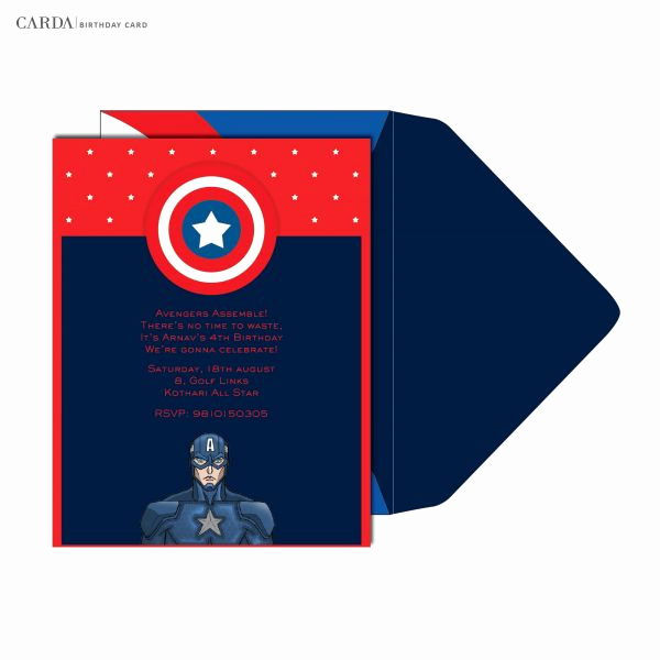 Captain America Invitation Template Elegant Line Invitation Cards Captain America Kids Birthday Cards