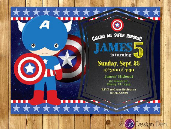 Captain America Invitation Template Fresh Captain America Birthday Party Invitations Super Hero