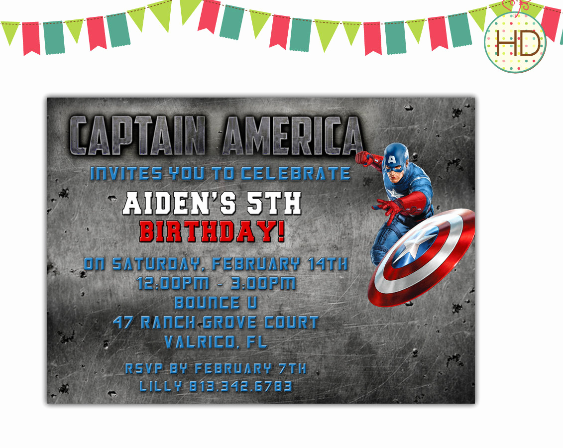 Captain America Invitation Template Fresh Captain America Invitation Avengers Superhero by Hdinvitations