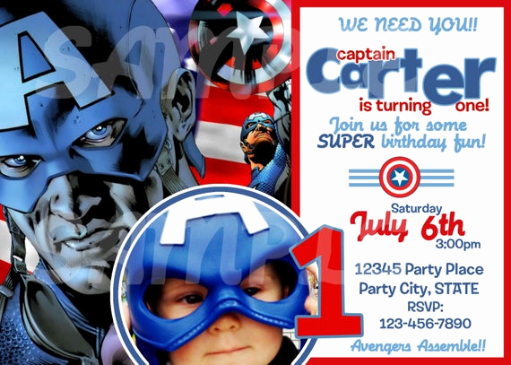 Captain America Invitation Template Fresh Etsy Your Place to and Sell All Things Handmade