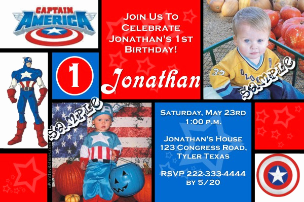 Captain America Invitation Template Lovely Captain America Birthday Invitations All Colors