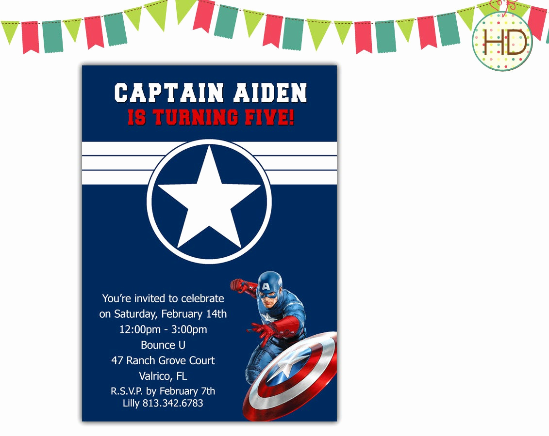 Captain America Invitation Template Lovely Captain America Invitation Avengers Superhero by Hdinvitations