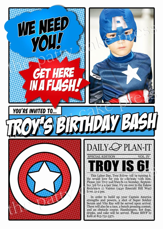 Captain America Invitation Template Lovely Captain America Invitation with Photo by thepattycakepress