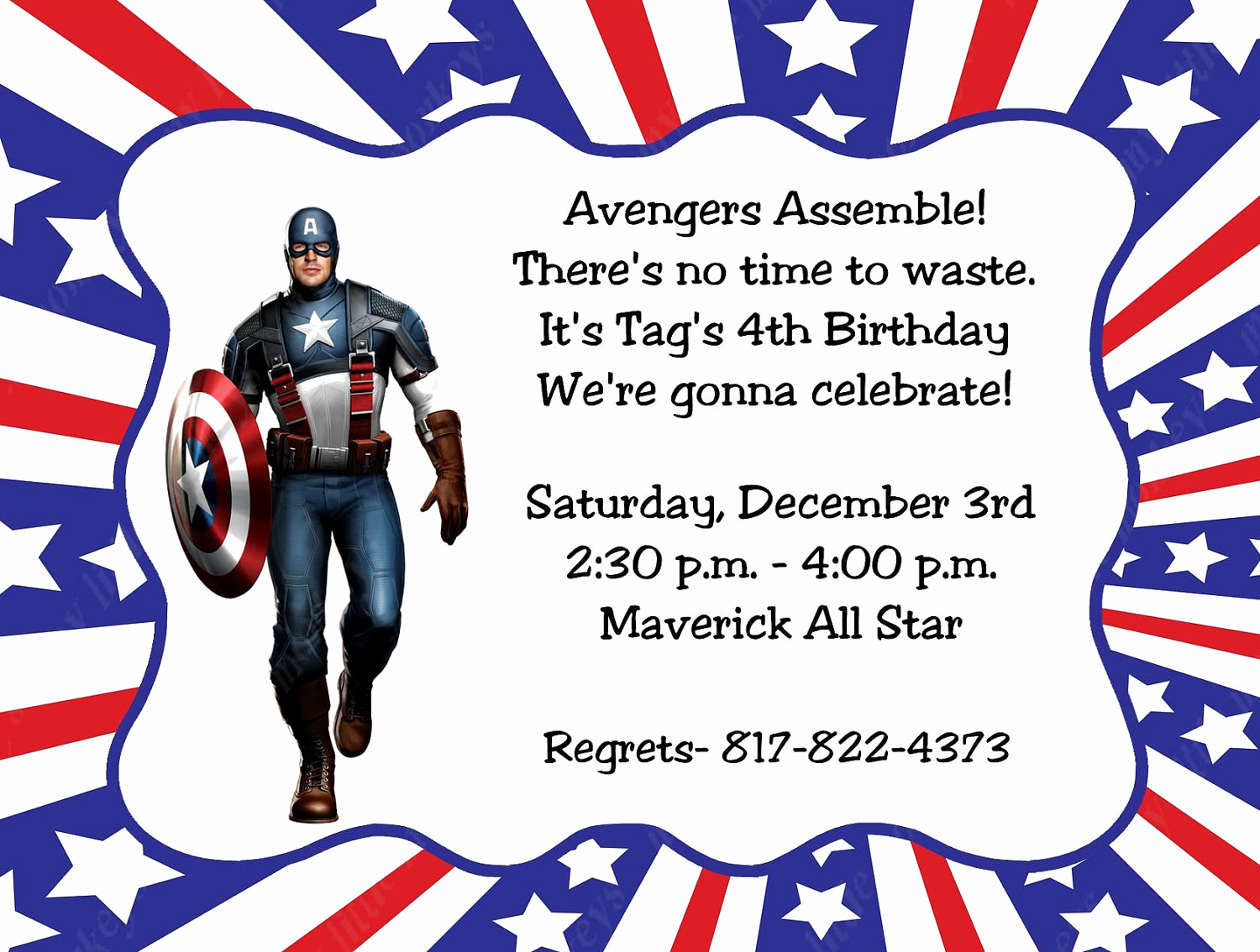 Captain America Invitation Template New 10 Captain America Invitations with Envelopes Free Return