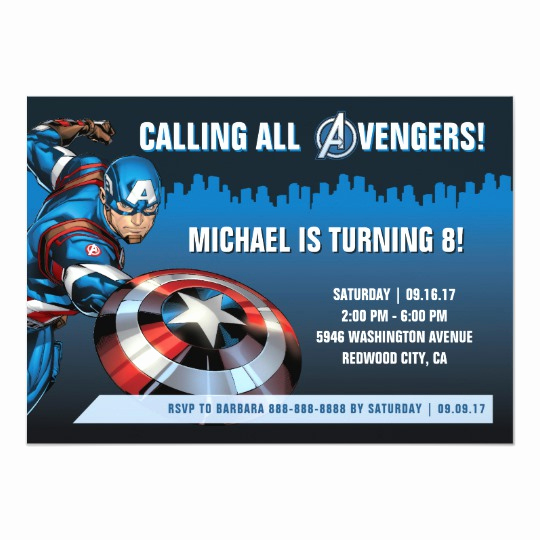 Captain America Invitation Template New Captain America Birthday Invitation