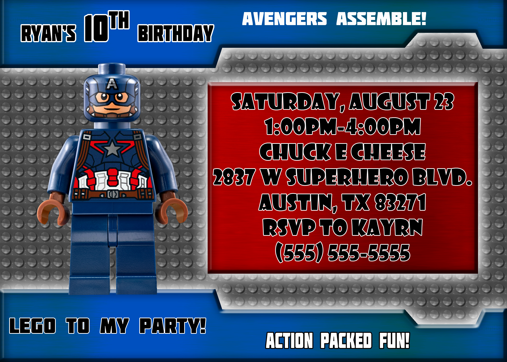 Captain America Invitation Template Unique Captain America Birthday Invitations