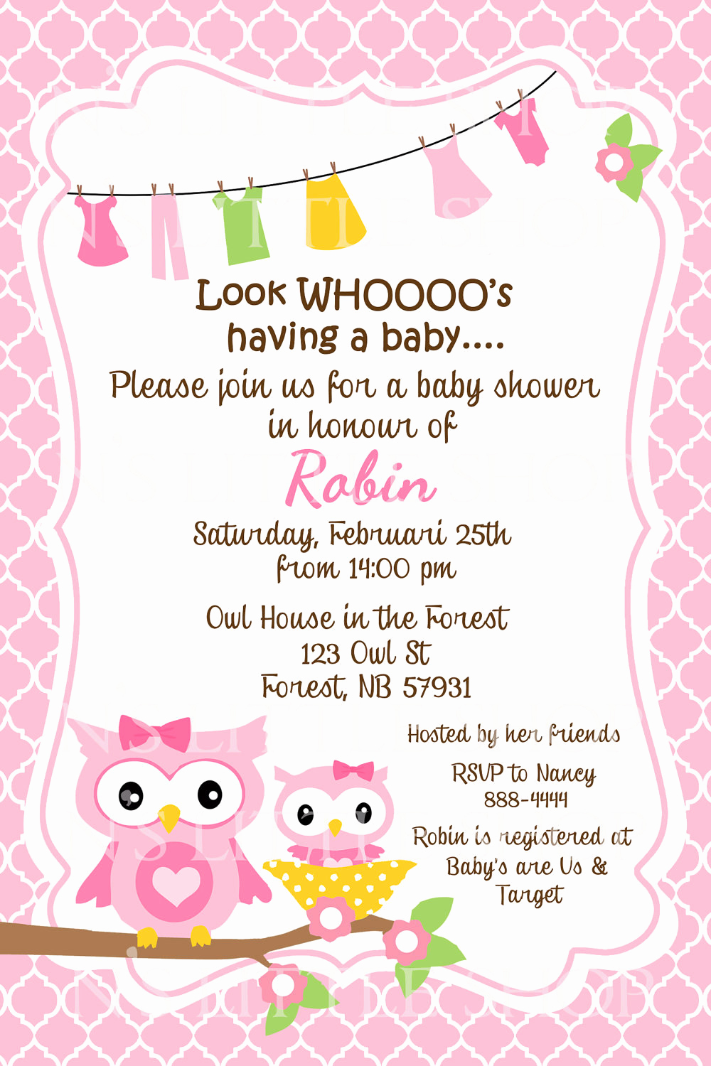 Card Shower Invitation Wording Fresh Pink Owl Baby Shower Invitation Card Customize by