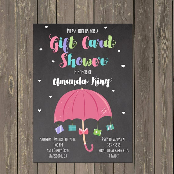 Card Shower Invitation Wording Lovely Gift Card Baby Shower Invitation Baby Sprinkle Invitation