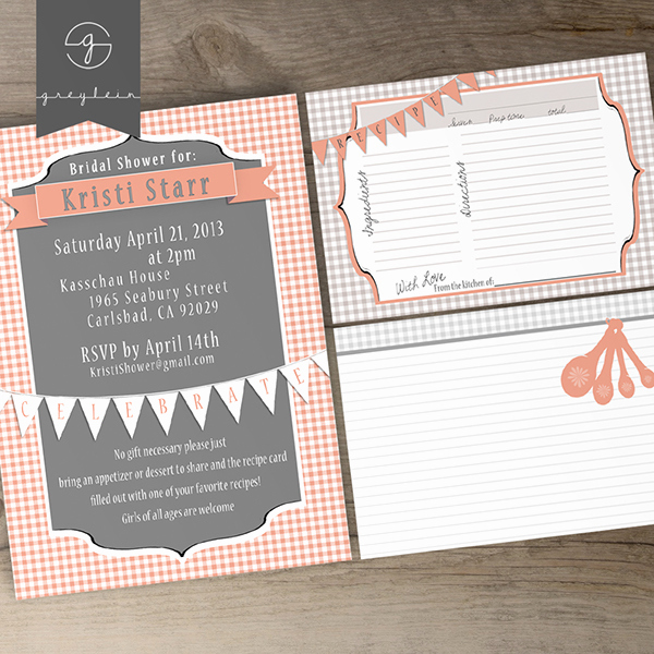 Card Shower Invitation Wording New Bridal Shower Printable Invites and Recipe Cards On Behance