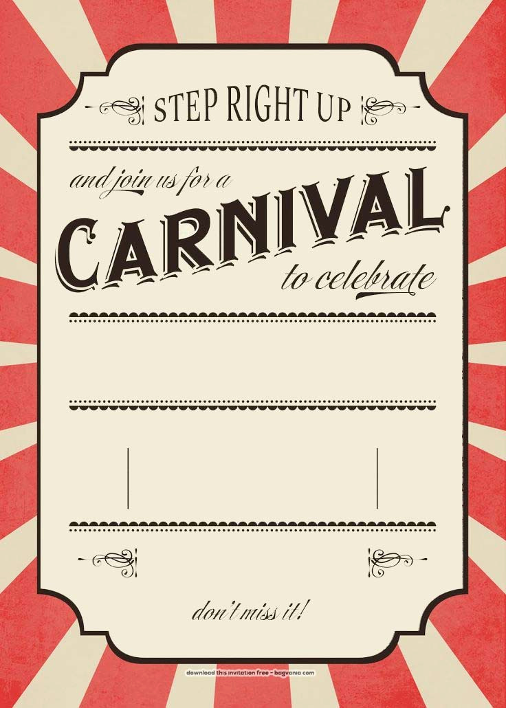 Carnival Invitation Template Free Awesome Free Carnival Birthday Invitations – Free Printable