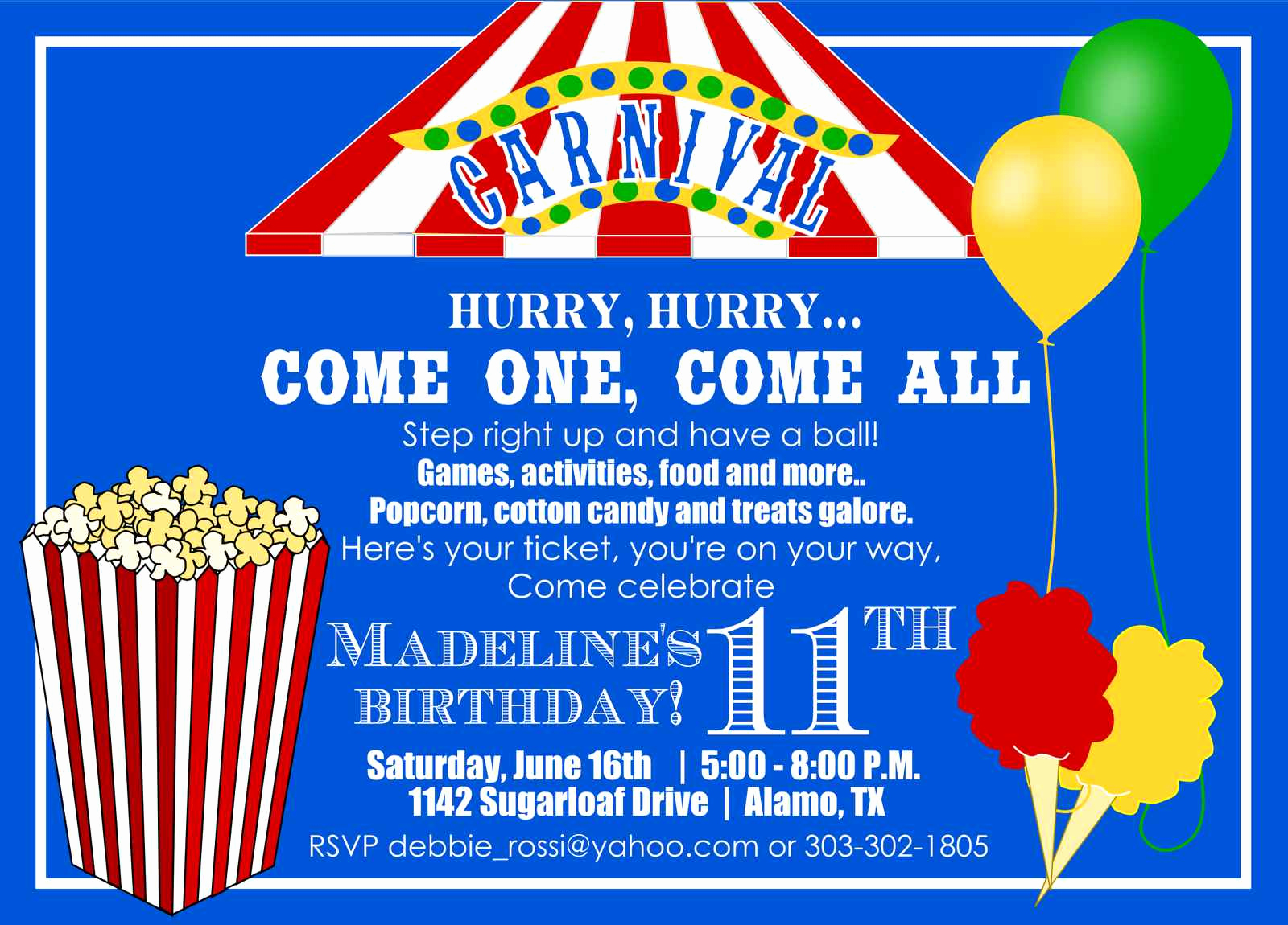 Carnival Invitation Template Free Best Of Carnival themed Birthday Invitations