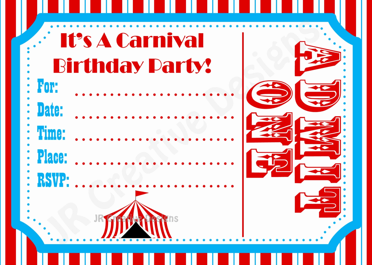 Carnival Invitation Template Free Fresh Carnival Invite Circus Invite Circus by Jrcreativedesigns