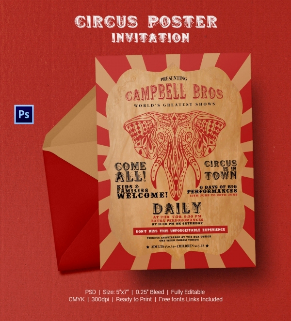 Carnival Invitation Template Free Fresh Circus Party Invitation Template 22 Free Jpg Psd