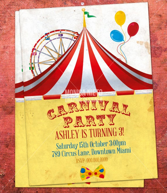 Carnival Invitation Template Free Inspirational Custom Printable Carnival Circus Birthday Invitation Retro
