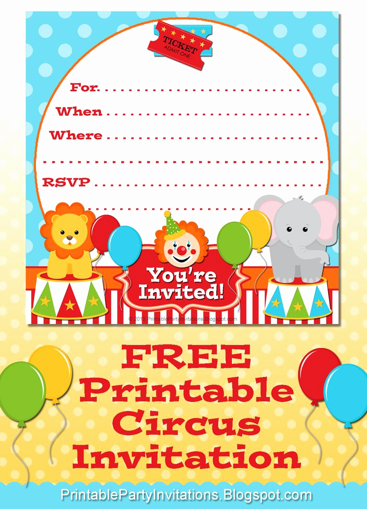 Carnival Invitation Template Free Inspirational Free Printable Circus Party Invitation