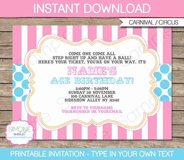 Carnival Invitation Template Free Lovely Carnival Party Invitations Template Pink Aqua