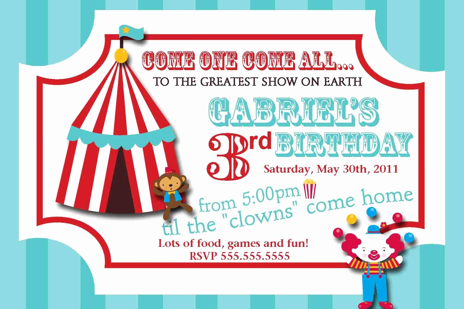 Carnival Invitation Template Free New Carnival Circus Ticket Birthday Invitation by