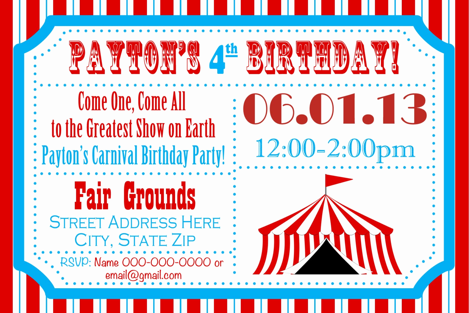 Carnival Invitation Template Free New Circus Birthday Party Carnival Invite Circus by