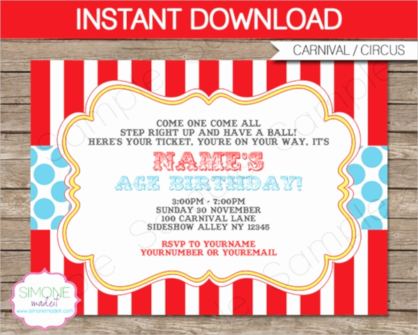 Carnival Invitation Templates Free Awesome 14 Circus Party Invitations Psd Vector Eps