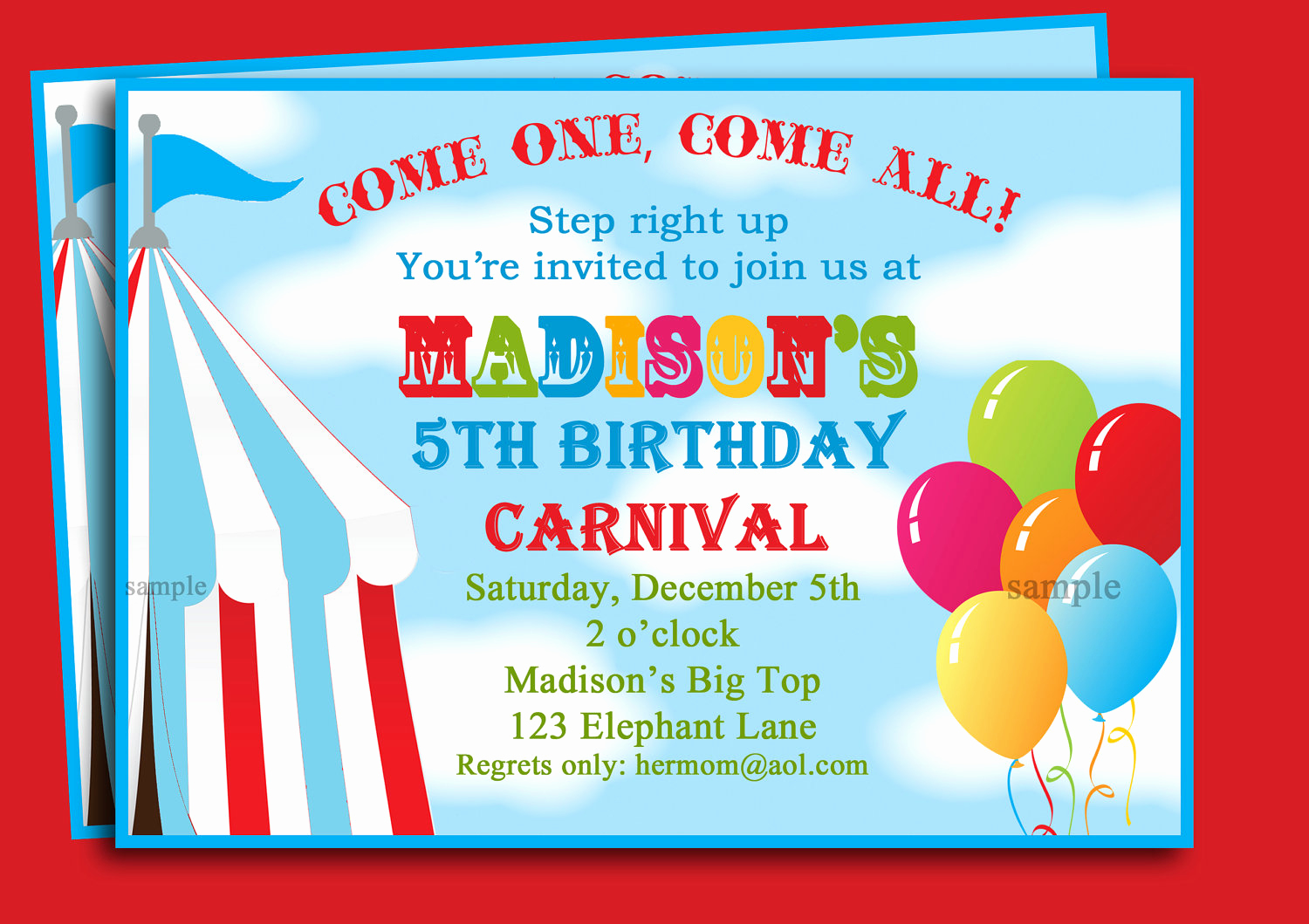 Carnival Invitation Templates Free Best Of Carnival themed Birthday Party Invitations