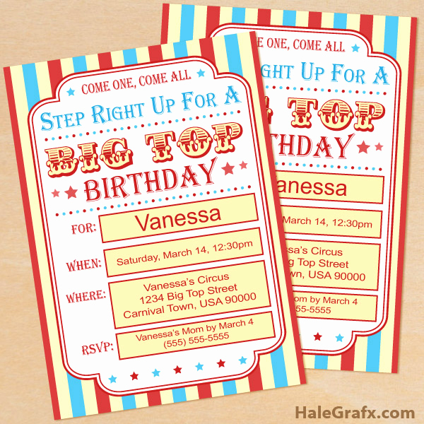 Carnival Invitation Templates Free Fresh Free Printable Circus Birthday Invitation Set