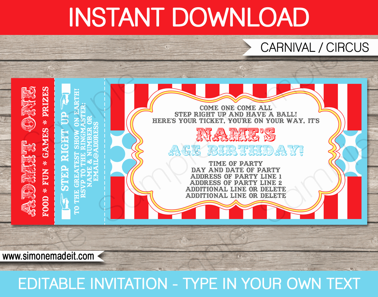 Carnival Invitation Templates Free Lovely Circus Ticket Invitation Template