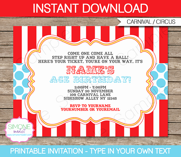 Carnival Invitation Templates Free Luxury Circus Invitation Template Red Aqua