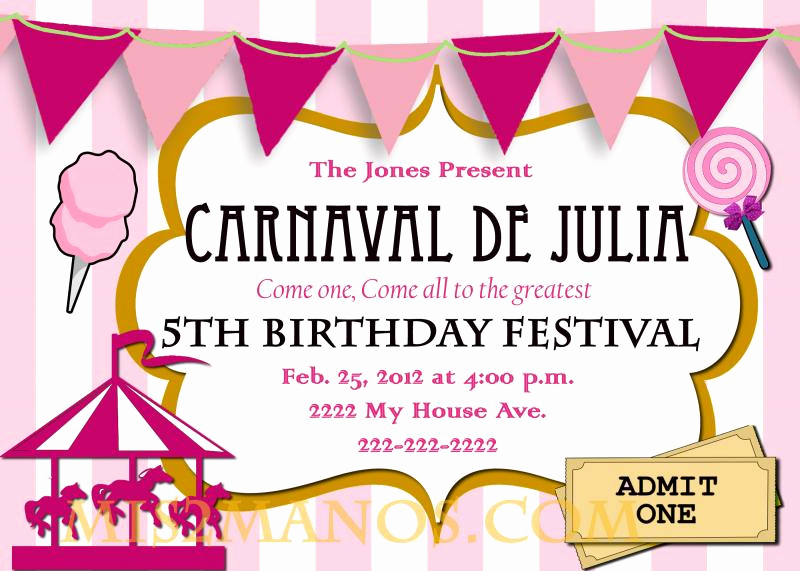Carnival Invitation Templates Free Unique Carnival Birthday Party Invitation Diy Printable by