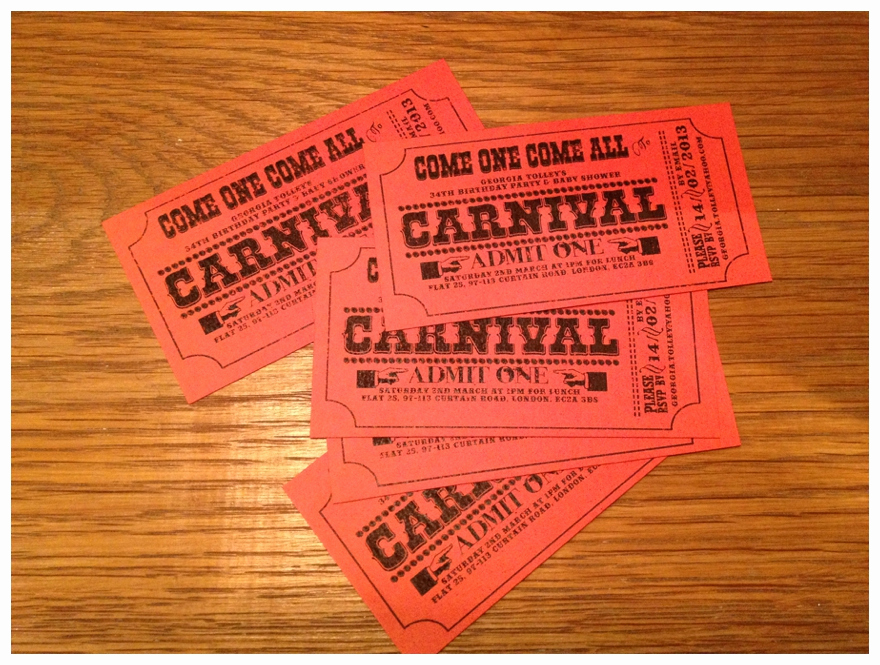 Carnival Ticket Invitation Template Beautiful Carnival Wedding theme Diy Invitations