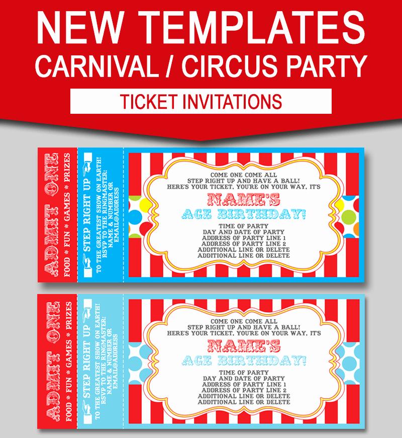 Carnival Ticket Invitation Template Beautiful Editable Carnival Ticket Invitations