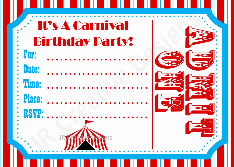 Carnival Ticket Invitation Template Elegant Carnival Invite Circus Invite Circus by Jrcreativedesigns