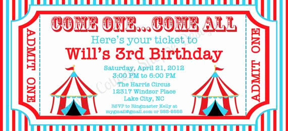 Carnival Ticket Invitation Template Free Awesome Circus Ticket Invitation Custom Printable by