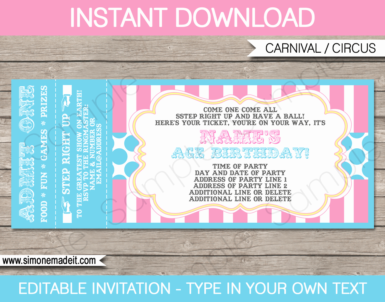 carnival party ticket invitations template pink