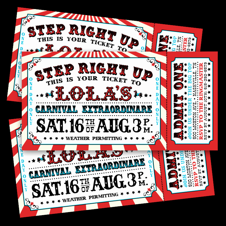 Carnival Ticket Invitation Template Free Fresh Vintage Carnival Ticket Invitations – Ian & Lola Design