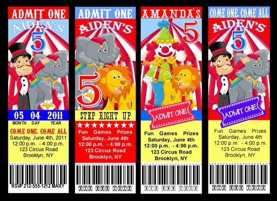 Carnival Ticket Invitation Template Free Inspirational Circus Carnival theme Ticket Style Invitation by