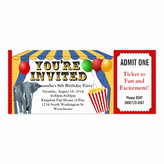 Carnival Ticket Invitation Template Free Inspirational Circus Carnival Ticket Custom Invitations