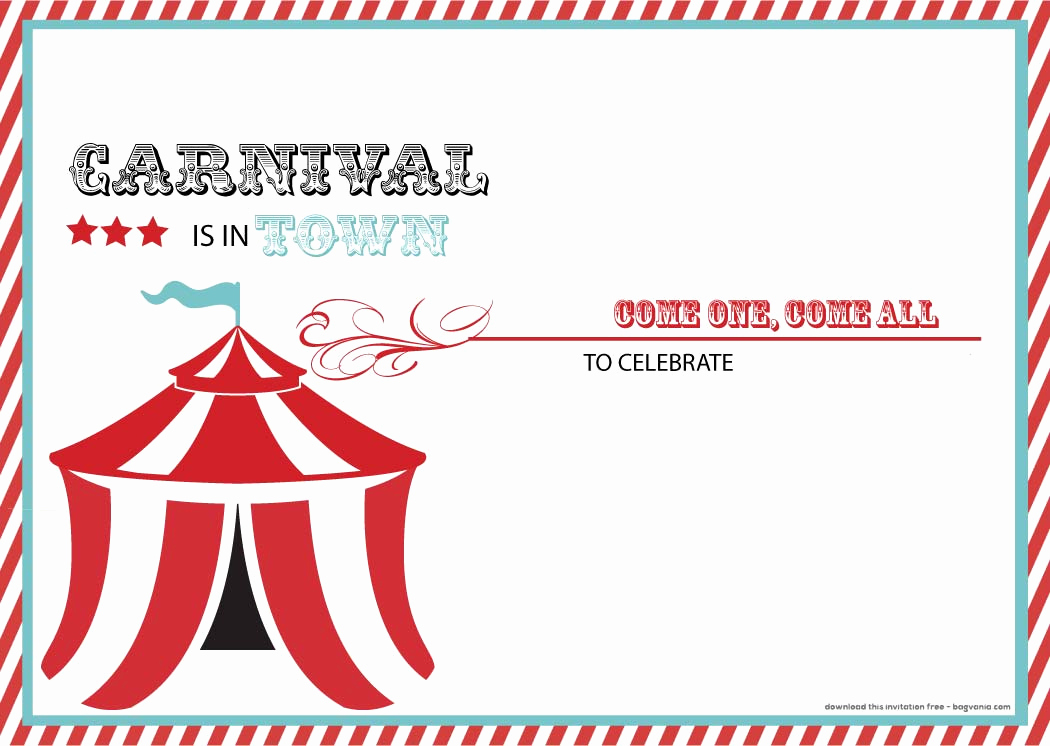Carnival Ticket Invitation Template Free Lovely Free Carnival Birthday Invitations – Free Printable