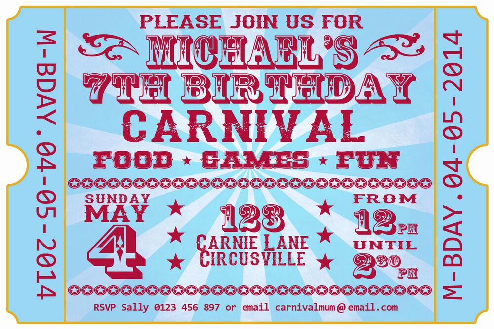 Carnival Ticket Invitation Template Free Luxury Carnival Festival Ticket Birthday Party Invite Invitation