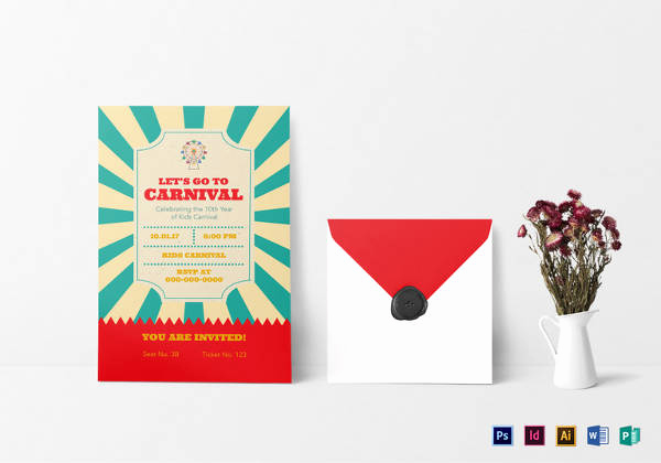 Carnival Ticket Invitation Template Free New 37 Carnival Birthday Invitation Templates Free Sample