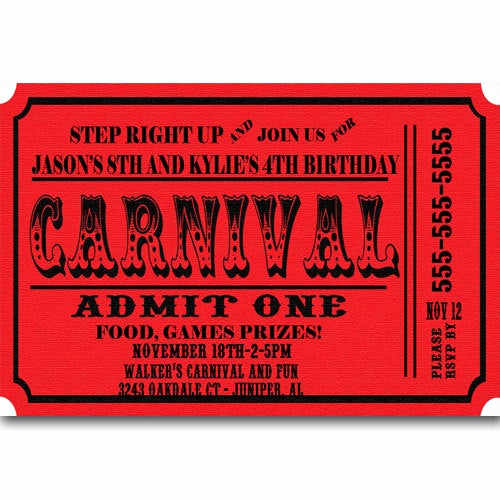 Carnival Ticket Invitation Template Free New Carnival Ticket Birthday Party Invitations Announcement