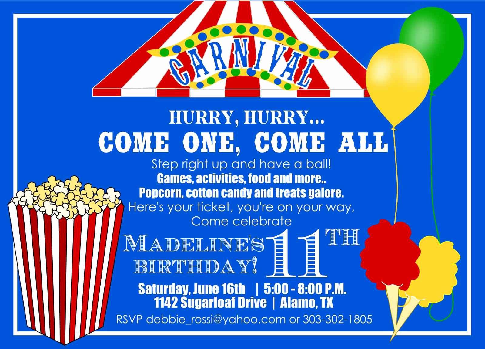 Carnival Ticket Invitation Template Fresh Carnival themed Birthday Invitations