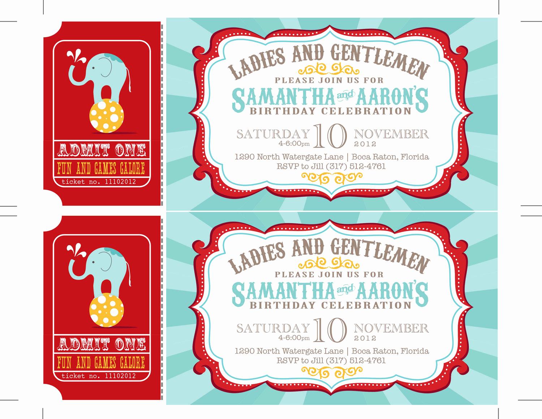 Carnival Ticket Invitation Template Fresh Reserved Carnival Invitations Circus Invitations Ticket