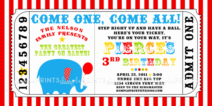 Carnival Ticket Invitation Template Inspirational Circus Carnival Ticket Printable Invite Dimple Prints Shop