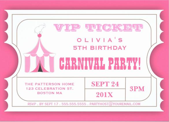 Carnival Ticket Invitation Template Lovely 27 Carnival Birthday Invitations Free Psd Vector Eps