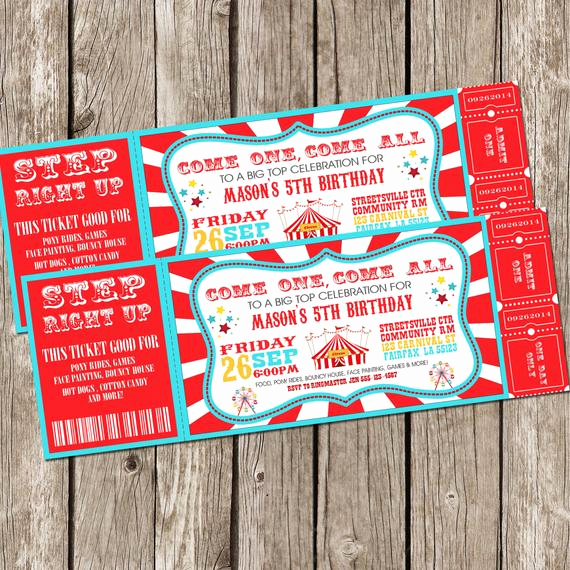 Carnival Ticket Invitation Template Lovely Vintage Circus Carnival Invitation Ticket Invitation