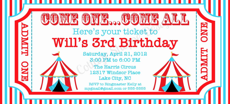 Carnival Ticket Invitation Template New Circus Ticket Invitation Custom Printable by